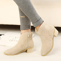 Free shipping 2013 autumn and winter fashion genuine leather vintage high-heeled thick heel boots women's lady nubuck leather