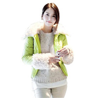 Free Gift 875 autumn and winter slim berber fleece hooded short design wadded jacket cotton-padded jacket outerwear