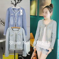 Free shipping, fashion casual jeans female coat , spring - fall short coat pearls worn denim jacket