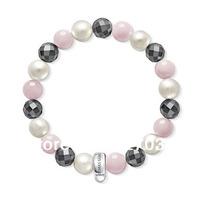 Wholesale price women gift Pure manual weaving hand catenary pearl & Rose Quartz & Hematite bracelets ts new bracelets tsb0058