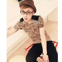 Mrfark t-shirt male short-sleeve summer personality leopard print short-sleeve tight-fitting T-shirt men's clothing slim t shirt