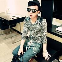 Mrfrak spring 2013 slim basic shirt long-sleeve T-shirt men's clothing V-neck leopard print