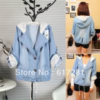 Free shipping, fashion new autumn ladies denim jacket, casual dress bat sleeve long-sleeved denim jacket