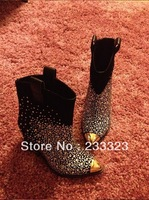 2013 gz boots metal iron rhinestone boots pointed toe elevator nubuck leather genuine leather boots