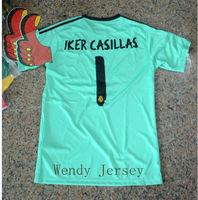 A+++ Spain Real Madrid Iker Casillas 2014 New Away GoalKeeper Green Goal Keeper Soccer Kit Thailand Quality Cheap Madrid Jersey