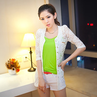 Free Gift 2013 summer women's cutout lace three quarter sleeve small suit jacket 3296 white