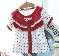 all $15 free shipping 3 colours girl's fashion Tshirt girl's dot lace style tshirt full cotton girl long sleeve tshirts
