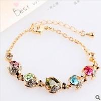 2014 Korean Style Fashion Jewelry  Beatles Crystal Bracelet Rhinestone Women Chain Bracelet S007