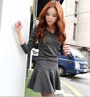 2013 Autumn New Women's Dress Slim Long Sleeve V-neck Dress With Ruffles S/M/L/XL Free Shipping