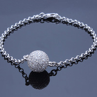 Eleagant Ball Charm Bracelet Platinum Plated Pave Setting With Top Quality Cubic Zirconia Diamond Crystals For Women Wholesale