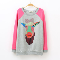 ADP Fashion 2013 autumn women's fashion all-match vintage goats head print raglan sleeve