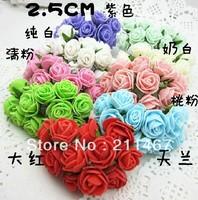 Free shipping 2.5cm Foam Rose Flowers 100% Handmade Bright Color Artificial Flowers Scrapbooking Decor Flowers 144pcs/lot