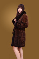 Mink long design fur outerwear fox fur mink knitted outerwear belt slim fashion outerwear