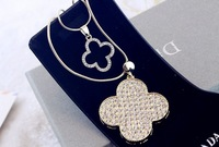 free shipping vintage long 2 layer four leaf clover pendant sweater chain necklace