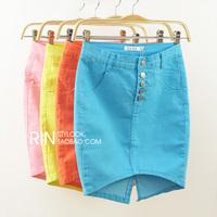 Pollera De Jeans Female candy color elastic bag skirt high waist denim skirt bust placketing summer slim hip short skirt