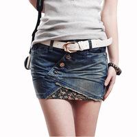 Pollera De Jeans 2014 denim shorts women skirt miniskirt fashion slim hip fashion flower irregular applique saia jeans