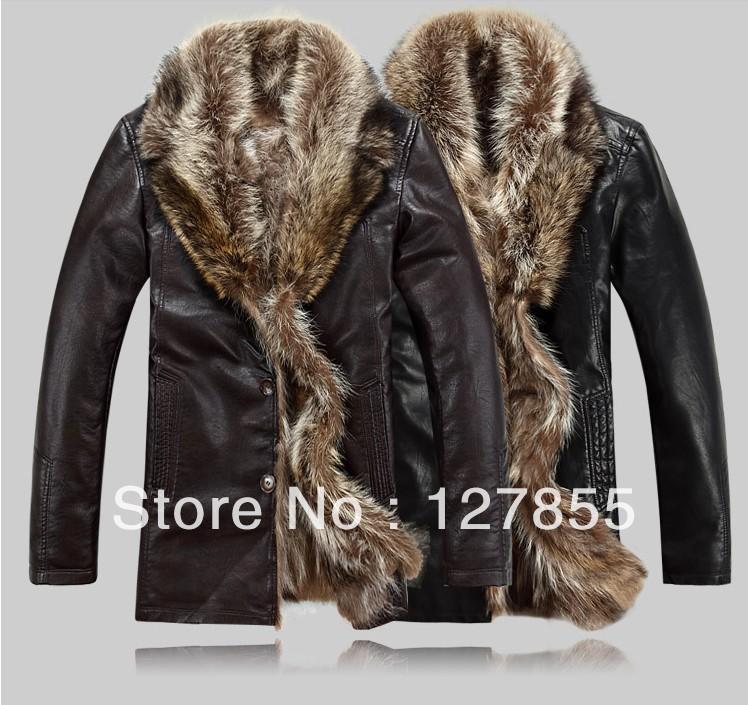Free Shipping New Winter Coat Genuine Sheep Skin Fox Fur Collar Down Jacket Coat Jacket Leather Men: S~ 4XL(China (Mainland))