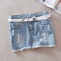 Pollera De Jeans 2013 autumn denim short skirt female retro finishing distrressed denim skirt bag slim all-match mini saia jeans