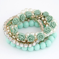 European fashion resin beads elegant rhinestone flowers design charms bracelet multilayers stretch bracelet wholesale 2pcs/lot