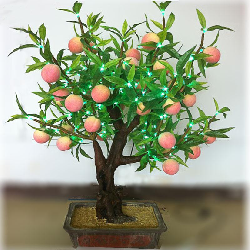 led high artificial peaches lamp led bonsai tree light. Black Bedroom Furniture Sets. Home Design Ideas
