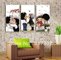 Free Shipping Wholesale High Quality Handmade Cross Stitch Kit Printed DIY Embroidery Triptych Kiss Baby