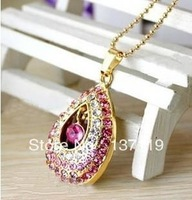 Jewelry crystal angel tears usb flash drive 32G diamond drop usb flash drive diamond necklace usb flash drive personalized