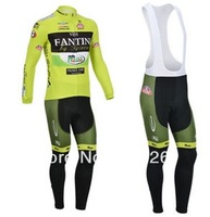 Free Shipping 2013 Vini fantini Thermal fleece Cycling Long Sleeve and Bib Pants Cycling Team J10011376