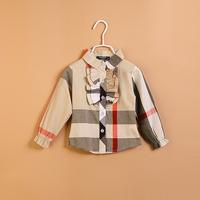 CS3148 girls  Cotton blouse Kids  shirt childrenclassical plaid kids