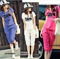 2013 Cotton ball can not afford not fade genuine 2013 new big yards short sleeve letters S30 Leisure Suit