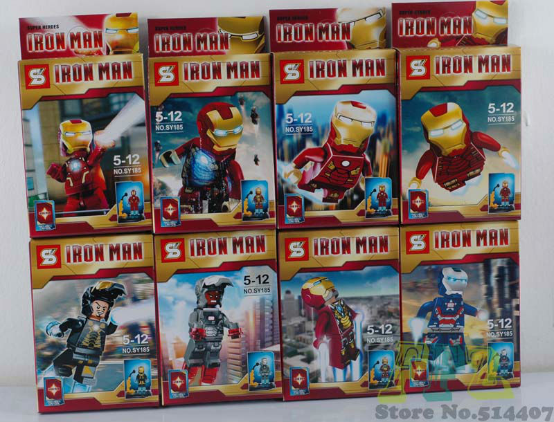 2013 Super Heroes Action Figures Iron man Toys 8pcs /lot Batman Block Ninja Toy The Avengers Mini Figures Without Original Box(China (Mainland))