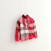 CS3149 girls  Cotton blouse Kids  shirt childrenclassical plaid kids