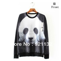 Free Shipping High Street Cute Panda Print High Street Unisex Couples Lovers Personality Loose Design Sweatshirt Outwear Coat