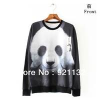 Free Shipping High Street Cute Panda Print High Street Unisex Couples Lovers Personality Loose Design Sweatshirt Outwear Coat