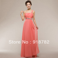 Cheapest !! Fast Shipping Best Selling Beautiful Princess Beaded One Shoulder Chiffon Long Evenng Gowns And Party Dress