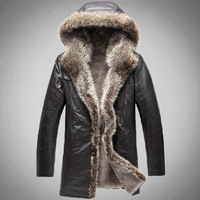 2013 new Luxury with a hood cashmere liner fur male medium-long fur one piece genuine leather clothing b596