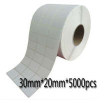 30 * 20 * 5000pcs hot High-quality printing paper Coated adhesive barcode label sticker paper  30MM * 20MM free shipping