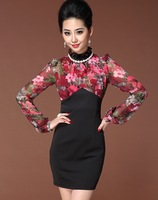 2013 autumn high quality plus size clothing formal elegant slim stand collar chiffon patchwork long-sleeve dress