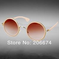 free shipping+NEW 1315 Unisex Stylish Round Sunglasses(Blue.Brown)