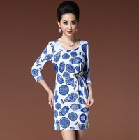 2013 autumn quality plus size clothing blue and white porcelain print elegant slim three quarter sleeve one-piece dress