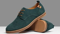 Free shipping fashion quality cowhide suede leather man sneaker plus size EU 38-48 from maufacturer