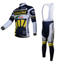 Vacansoleil - 2013  Men's Fall and Winter Thermal Long Sleeves Cycling Kits /  LS Cycling Jersey +  Pants / BiB Short Gel Padded