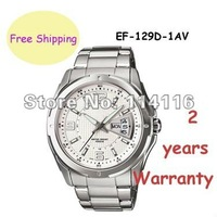 New EF-129D EF129D Men's Stainless Steel White dial Wrist Watch EF-129D-7AV EF-129D-7A