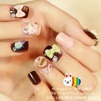 New Arrivals Japanese Kawaii Short Design chocolate bear 3d acrylic Nails/False Nails/Fake Nail/Nail Tips,24 pcs,Free Shipping