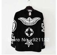 Free Shipping Super Stars Same Item Eagle Cross Print Round Neck Plus Size Hip Pop Style Unisex Hoodie Sweatshirt Coat Black