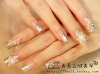 New 2014 Wedding bride fake nails,bling pearl diamond 3d crystal false nails/nail tips,24 pcs,free shipping