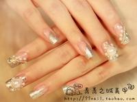 New 2014 Wedding bride fake nails,bling pearl diamond 3d crystal false nails/nail tips,24 pcs,free shipping