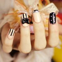 2014 new arrival Japanese Style Kawaii acrylic full cover oval fake nails tips ,24 pcs,free shipping