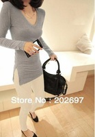Free shipping V - side slit self-cultivation women all-match long sleeved T-shirt