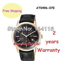 New quartz Chronograph movement leather strap Mens Watch luxury Wristwatches AT0496-07E AT0496 Gents Wristwatch + Original Box