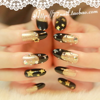 2013 New Fashion Super Star Glitter Diamond Stiletto acrylic long 3d False Nails Tips,24pcs with glue ,free shipping